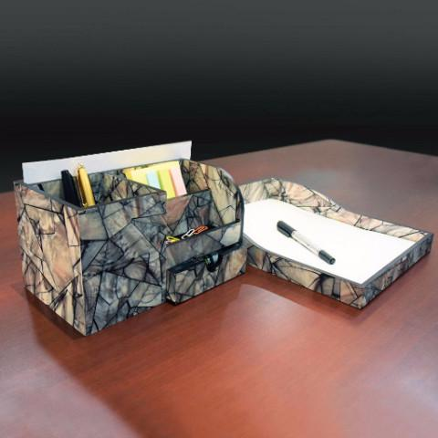 Ikee Design Wooden Marble Pattern Office Supplies Storage Desk Organizer