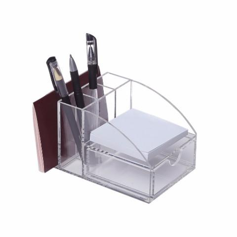Ikee Design®Acrylic Premium Desktop Office Supplies Organizer w/ Post It Note Pad Holder, Mail Storage & 3 Pencil Slots | Ikee Design