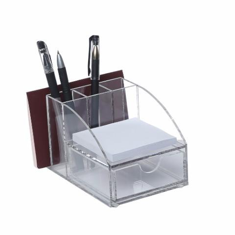 Ikee Design®Acrylic Premium Desktop Office Supplies Organizer w/ Post It Note Pad Holder, Mail Storage & 3 Pencil Slots