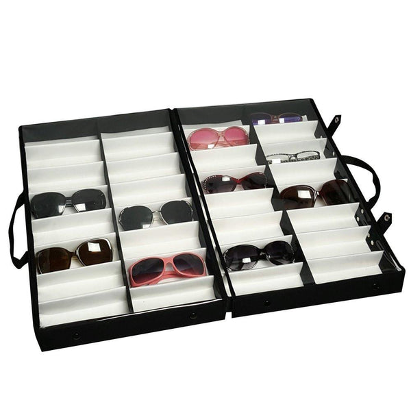 "Ikee Design®  Eyewear Carrying Cases with Clear Lid For 32 Frames, 19"" X 12 1/2"" X 4 1/2""H"