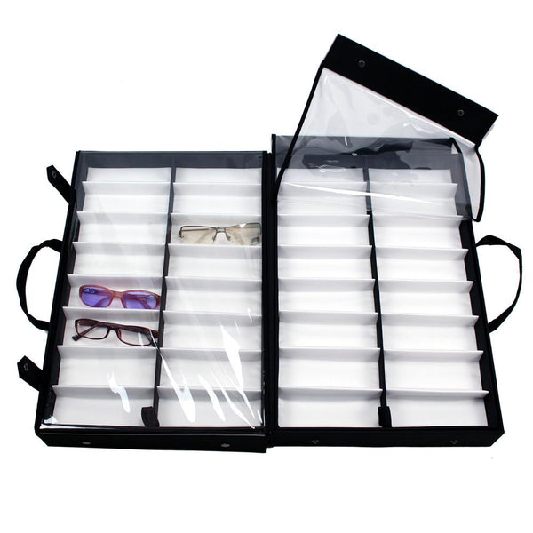 "Ikee Design®  Eyewear Carrying Cases w/Clear Lid For 64 Frames. 19"" x 12 1/2"" x 5 3/4""H"