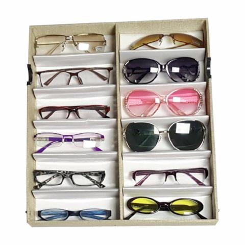 "Ikee Design®  Linen Fabric Covered Eyewear Tray For Large Sunglasses. 12 Frames, 14 1/2"" X 13"" X 2 1/4""h 