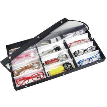 Ikee Design® Vinyl Clear Top Eyewear Case for 12 Pairs Small/Medium Eyeglasses, Sun Glasses