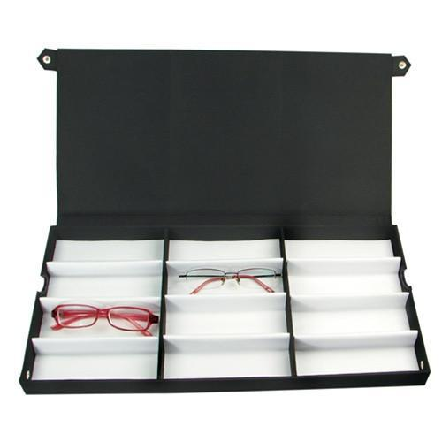 Ikee Design® Eyewear Case for 12 Pairs of Small/Medium Eyeglasses. 19''W x 9 1/2''D x 1 3/8''H | Ikee Design
