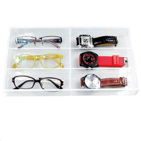 "Ikee Design® Acrylic Eyewear Case For 6 Pairs. 13 1/2""W x 7 1/2""D x 2 1/8""H"