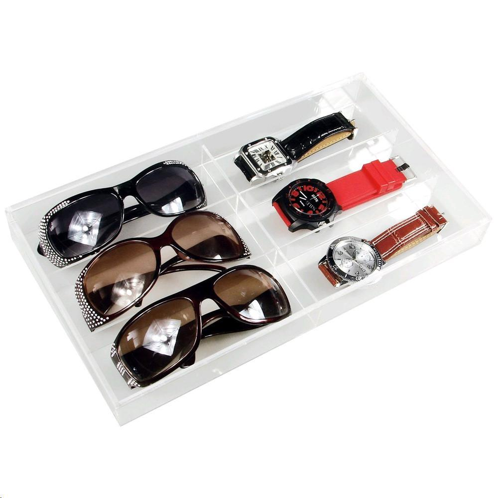 "Ikee Design® Acrylic Eyewear Case For 6 Pairs. 13 1/2""W x 7 1/2""D x 1 3/8""H 