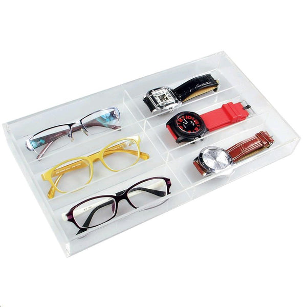 "Ikee Design® Acrylic Eyewear Case For 6 Pairs. 13 1/2""W x 7 1/2""D x 2 1/8""H 