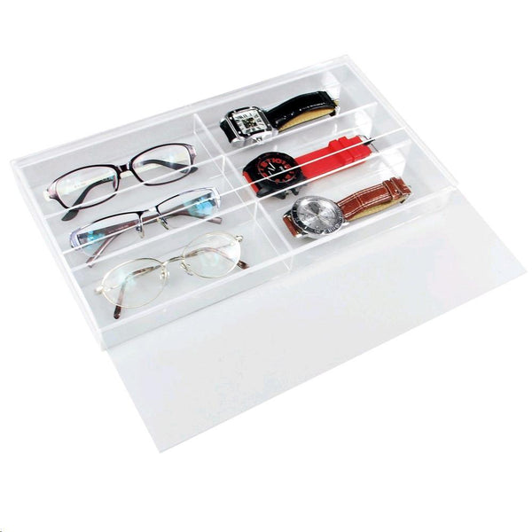 "Ikee Design® Acrylic Eyewear Case For 6 Large Pairs With Slide-out Lid. 13 1/2""W x 7 1/2""D x 2 1/8""H 