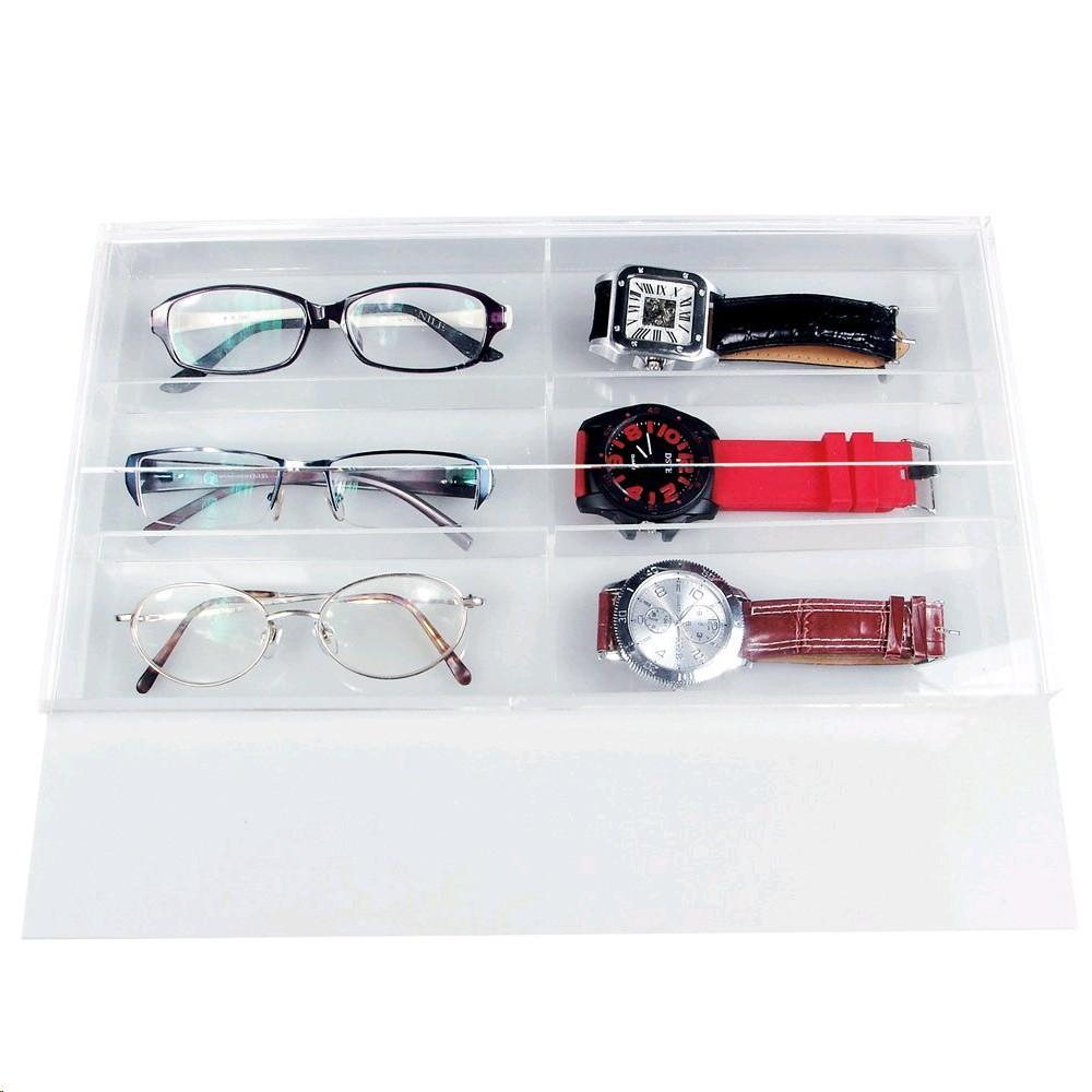 "Ikee Design® Acrylic Eyewear Case For 6 Small Pairs With Slide-out Lid. 13 1/2""W x 7 1/2""D x 1 3/8""H"