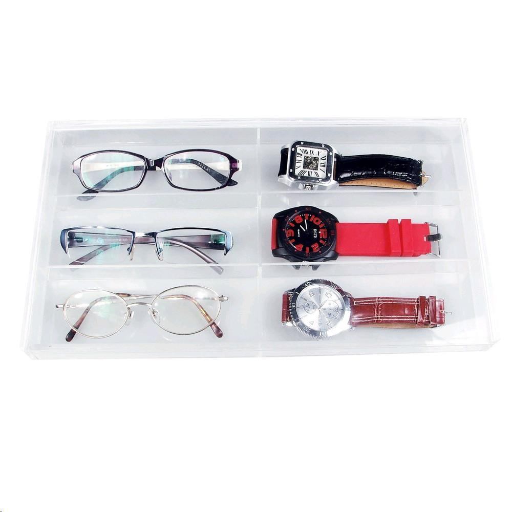 "Ikee Design® Acrylic Eyewear Case For 6 Small Pairs With Slide-out Lid. 13 1/2""W x 7 1/2""D x 1 3/8""H 