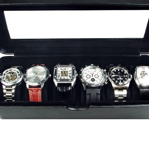 "Ikee Design®  Deluxe Black Faux Leather Watch Case (6 Watches) 11 3/4""W x 4 1/4""D x 3 1/8""H"