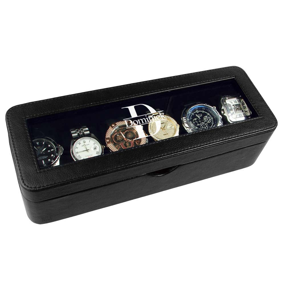 Ikee Design® Personalized Black Leatherette Watch Case Box for 6 Watches