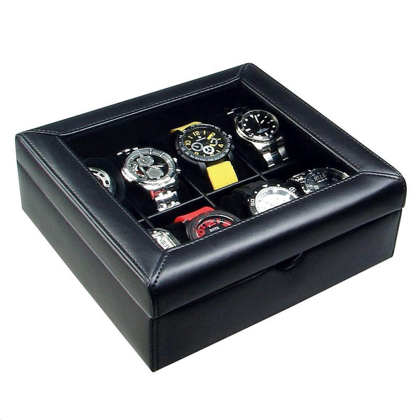 "Ikee Design®  Deluxe Black Faux Leather Watch Display Case For 8 Watches. 9""W x 8 5/8""D x 3 1/4""H."