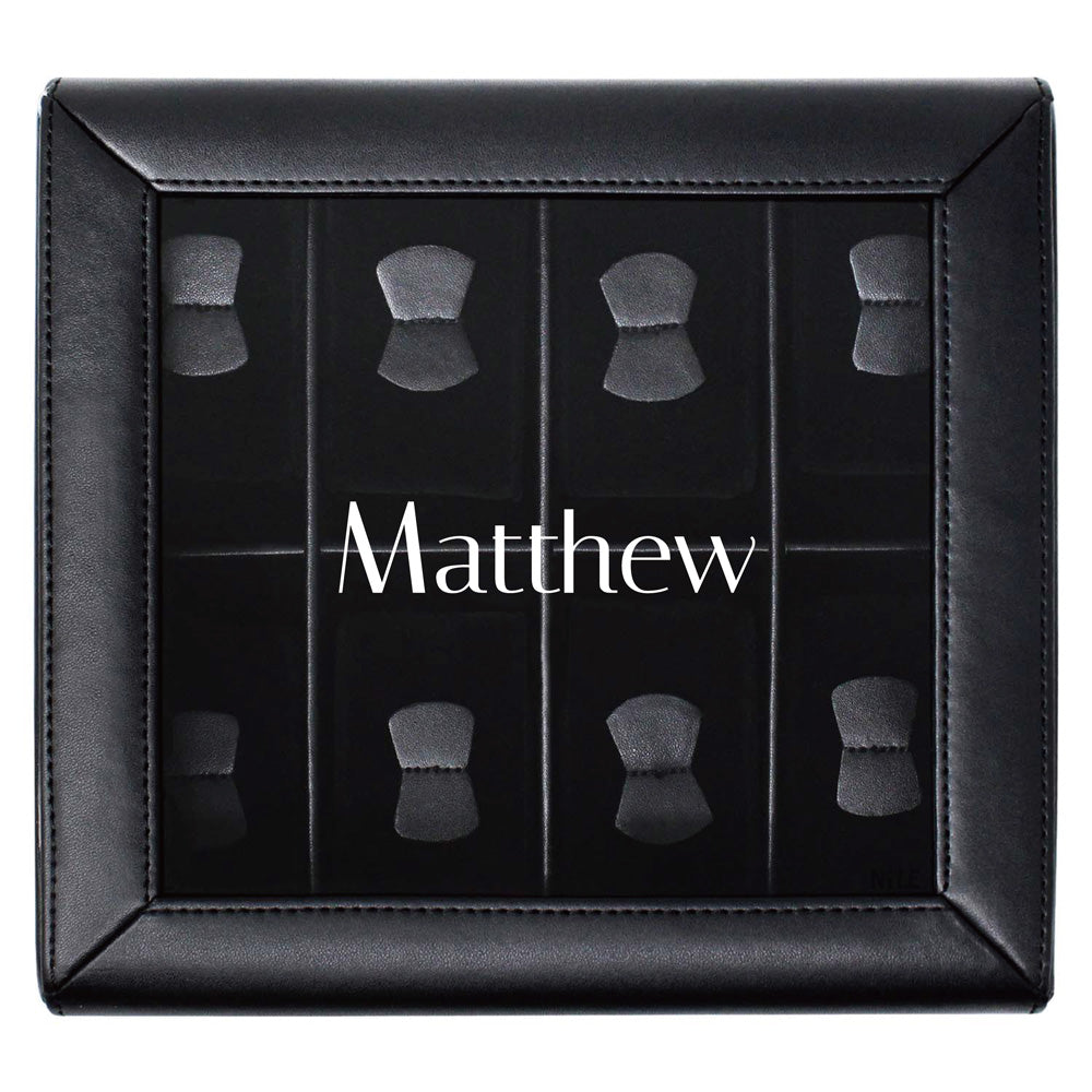 Ikee Design® Personalized Black Leatherette Watch Case Box for 8 Watches