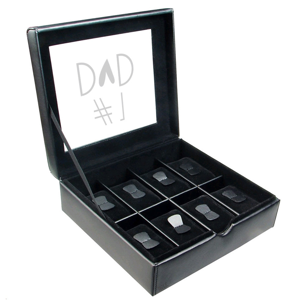 Ikee Design® Personalize 8 Slots Watches Case Box w/ Text Engraving