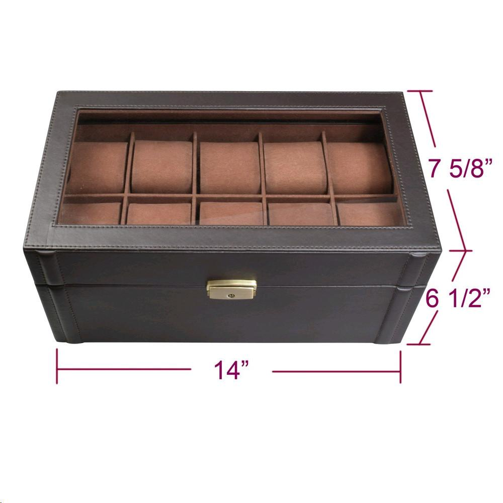 "Ikee Design® Deluxe Espresso Brown Watch Display Case With Key Lock 14"" x 7 5/8"" x 6 1/2""H"