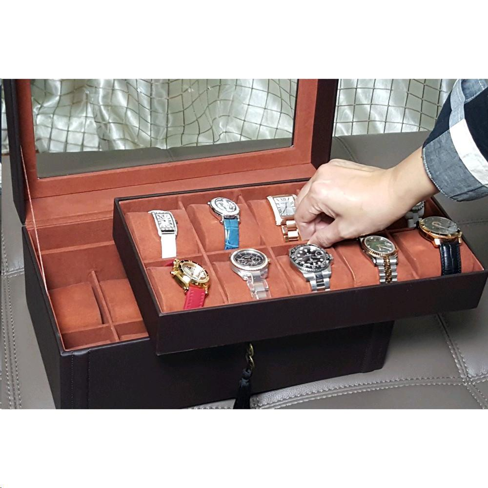 "Ikee Design® Deluxe Espresso Brown Watch Display Case With Key Lock 14"" x 7 5/8"" x 6 1/2""H 