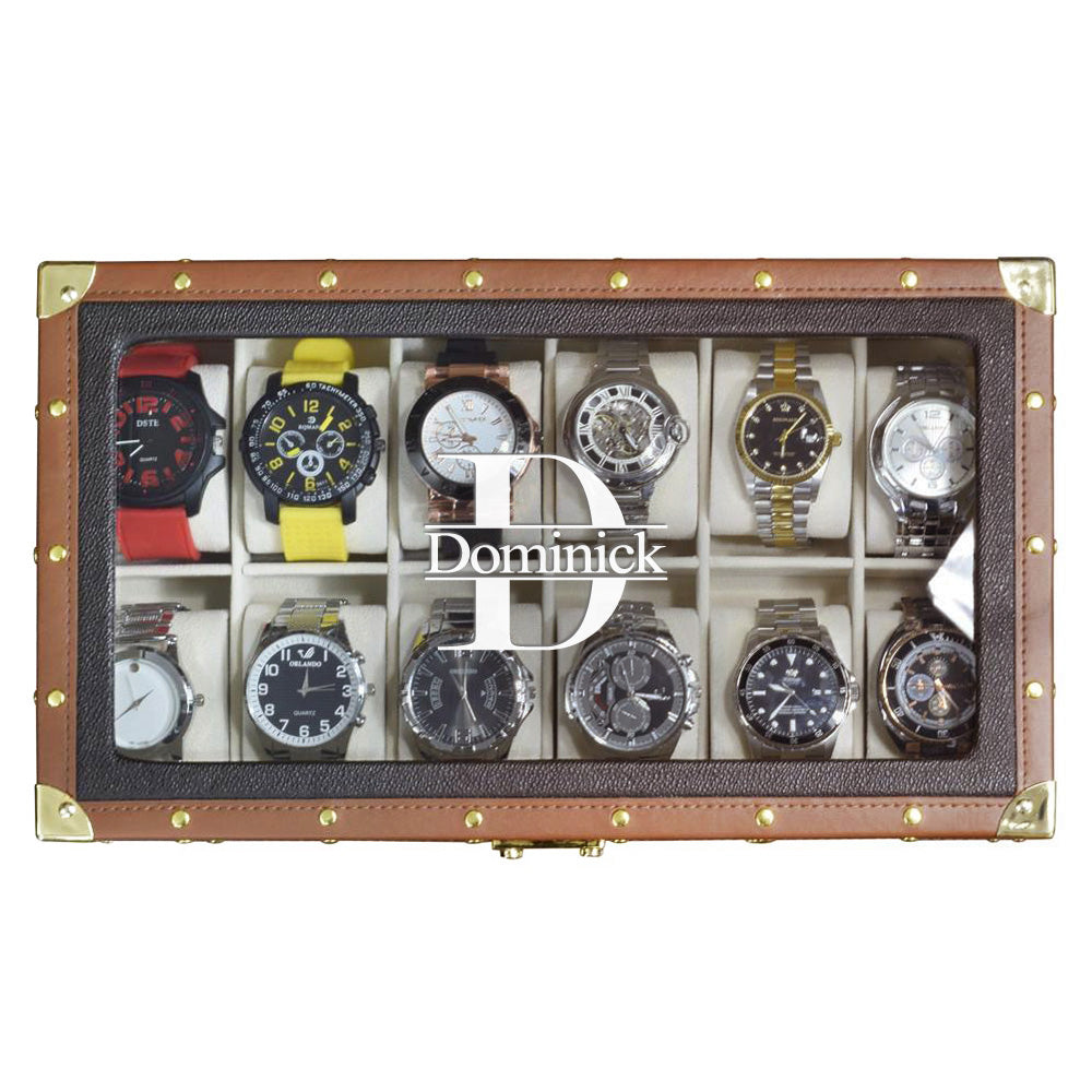 Ikee Design® Personalized Brown Leatherette Watch Storage Box