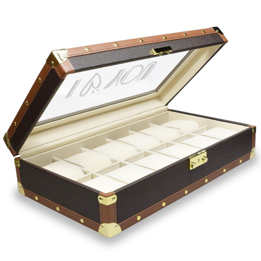 Ikee Design®Personalized Brown Leatherette Watch Box w/ Text Engraving