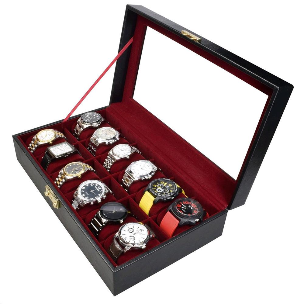 "Ikee Design®  Leatherette Watch Box For 12 Watches. 13 3/4""W x 8""D x 3 3/4""H"