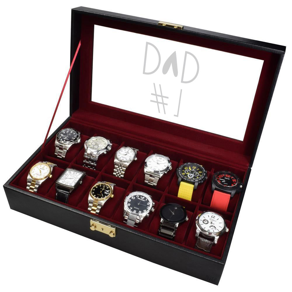 Ikee Design®Personalized Black Leatherette Watch Box w/ Text Engraving