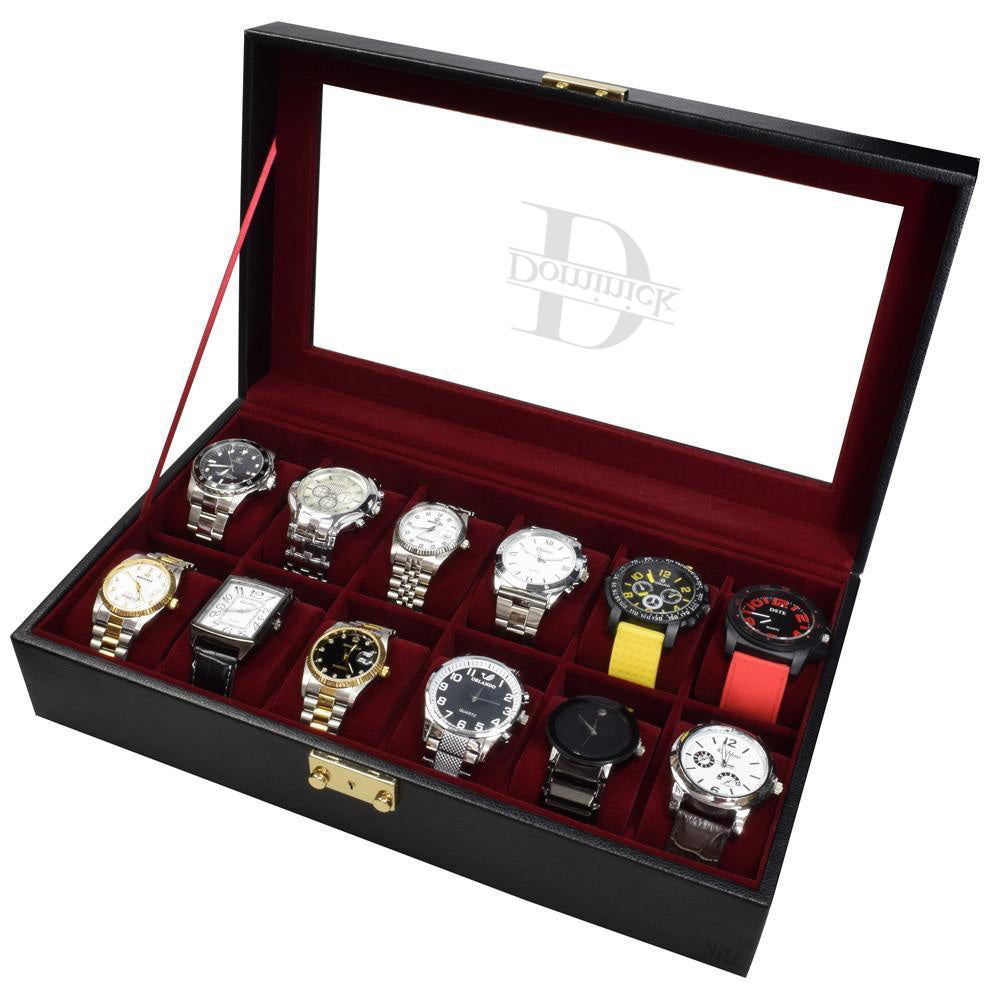 Ikee Design® Personalized Black Leatherette Watch Case for 12 Watches