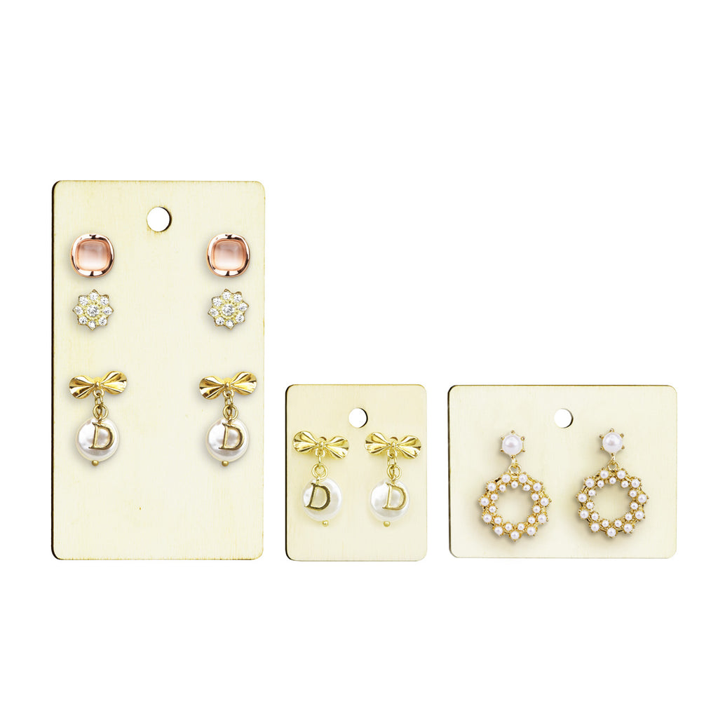 #WBX510 12 Pcs Set Natural Wood Earring Cards Earring Holders Wooden Earring Display Cards Bulk Earring Cards Hanging Earring Cards