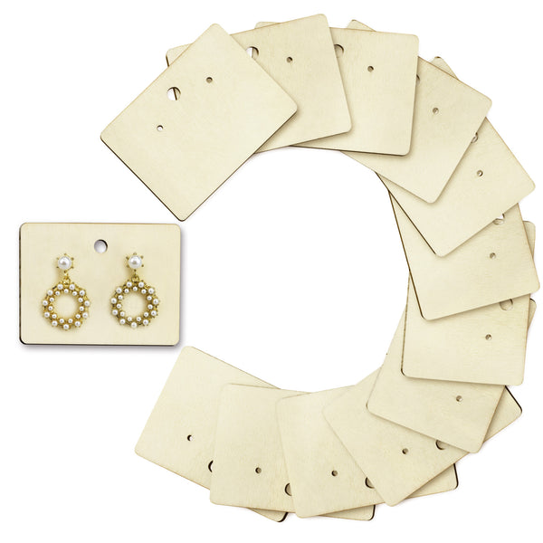 #WBX512 12 Pcs Set Natural Wood Earring Cards Earring Holders Wooden Earring Display Cards Bulk Earring Cards Hanging Earring Cards