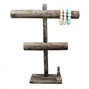 "Ikee Design® Antique Color Wooden Double Bar Bracelet display. 12""W x 3 1/2""D x 14""H"