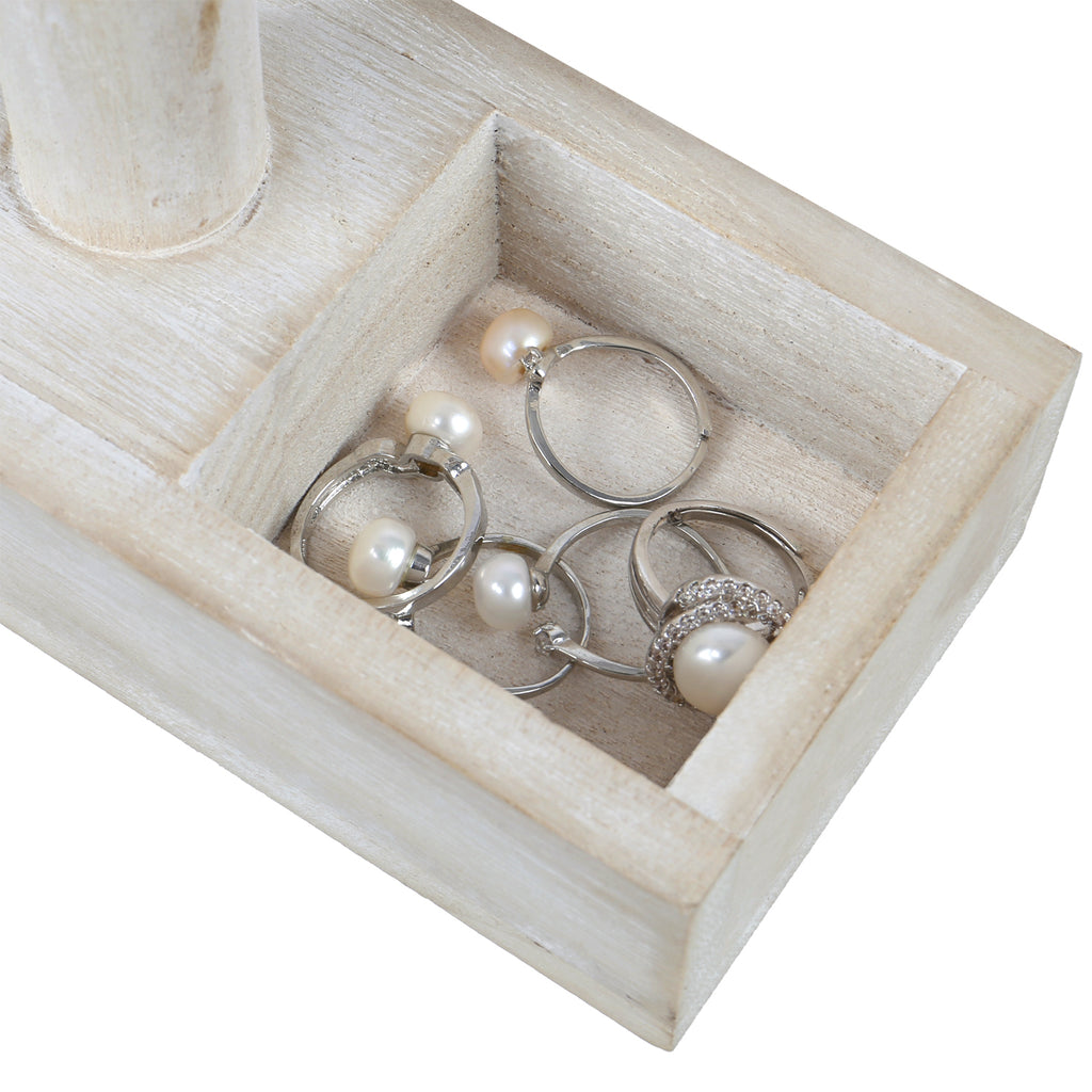 Ikee Design® Wood White T-bar Jewelry Display Stand with Compartments