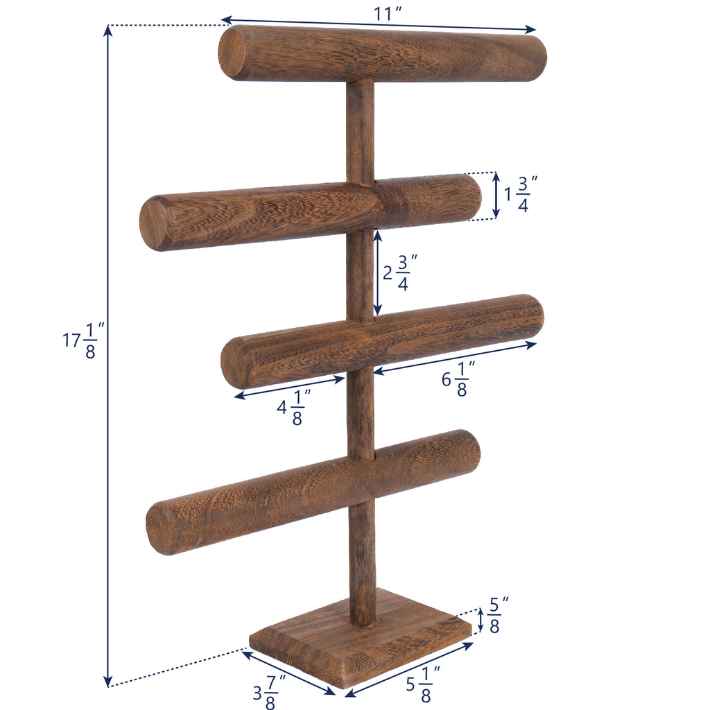 Ikee Design®Wooden Brown 4-Tier T-bar Jewelry Display Stand