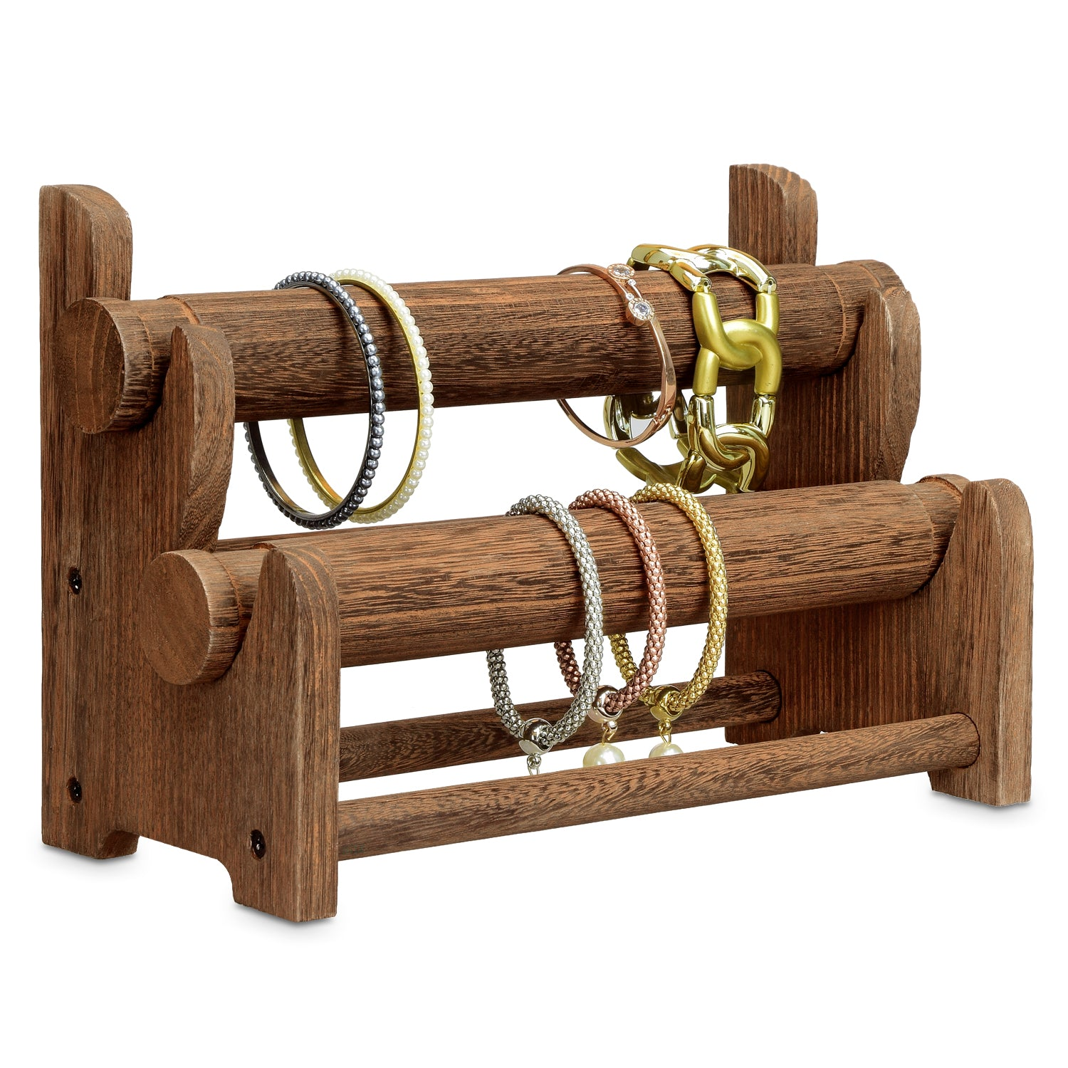 Ikee Design Wooden 2 Tier Bar Bracelet Bangle Jewelry Holder Stand Di