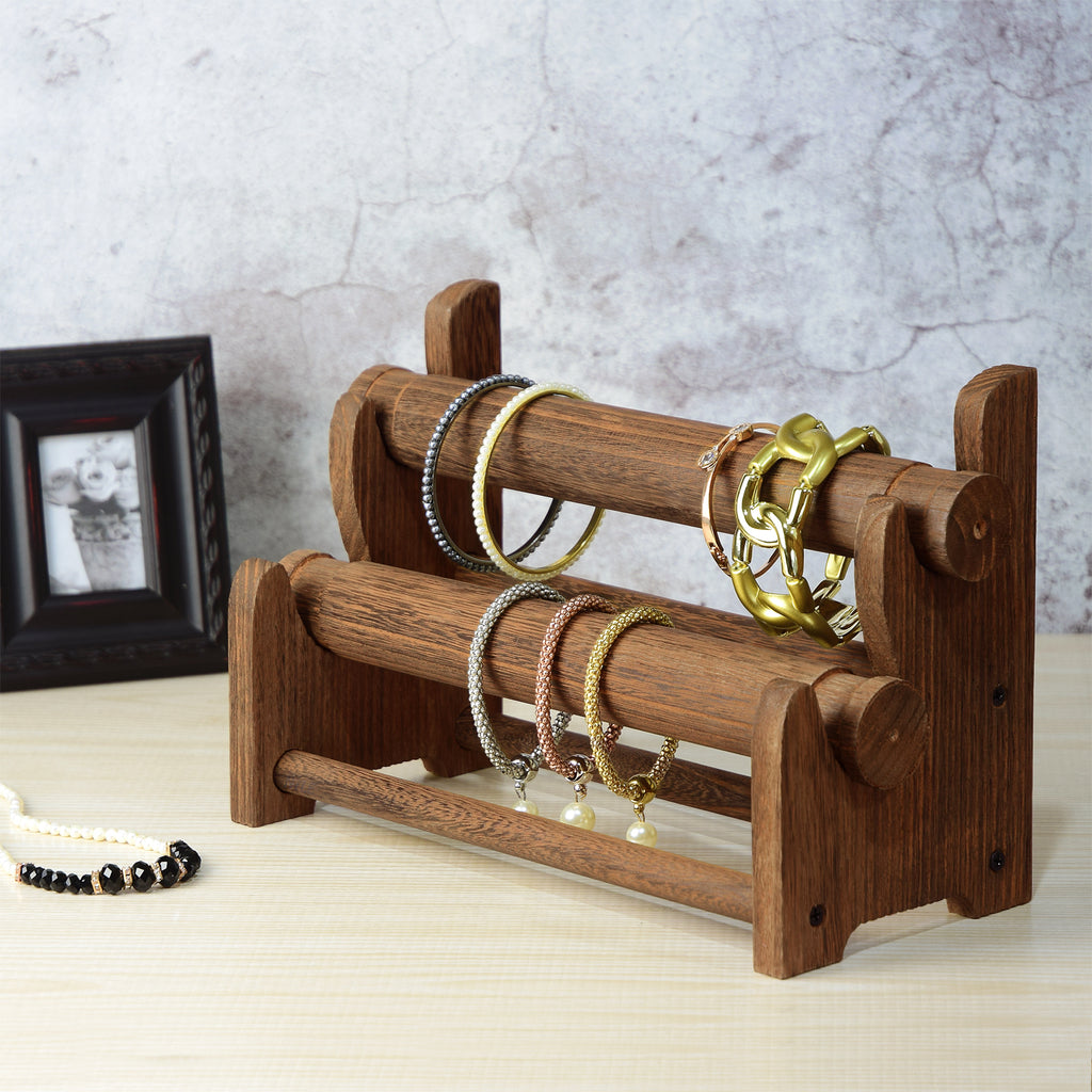 Ikee Design® Wooden 2-Tier Bar Bracelet/Bangle Jewelry Holder Stand Display Organizer