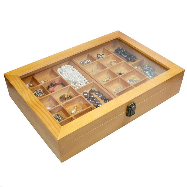 Ikee Design® Natural Wood Two Level Display Box. 11''x 15 3/4'' x 3 1/4''
