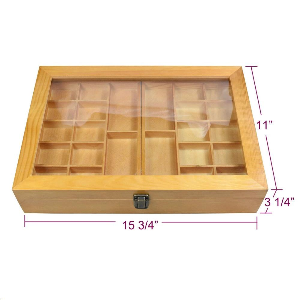 Ikee Design® Natural Wood Two Level Display Box. 11''x 15 3/4'' x 3 1/4'' | Ikee Design