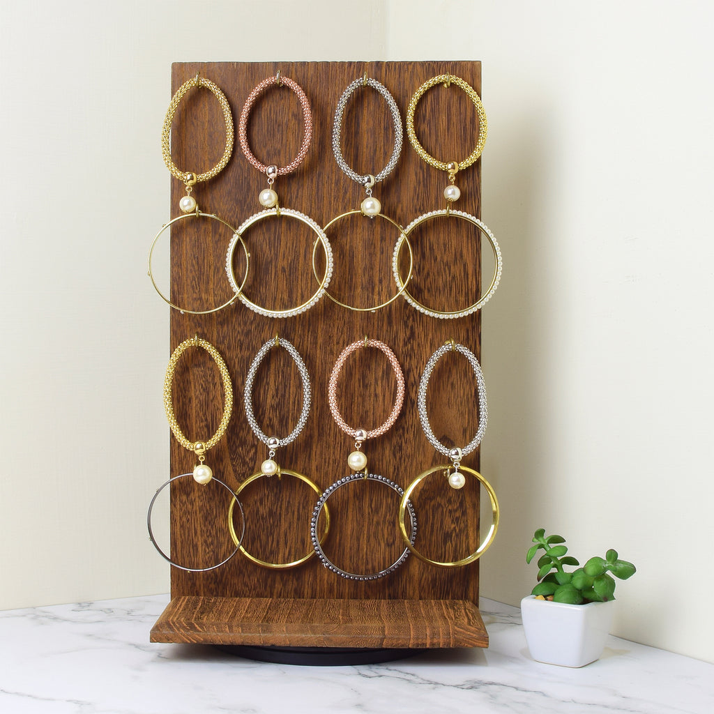 Ikee Design Wooden jewelry Two-Sided Display Stand with 32 Hooks