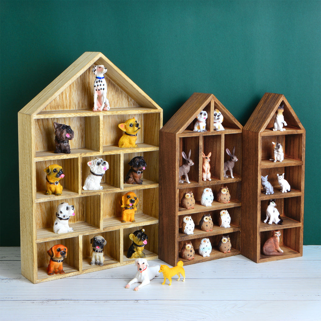 Ikee Design House-Shaped Wooden Shadow Cubby Box Display Shelf, 3PCS