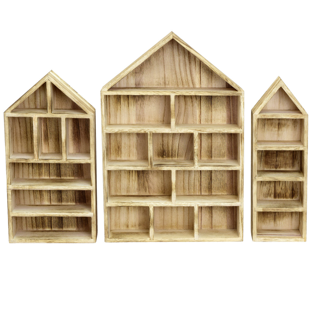 Ikee Design® House-Shaped Wooden Shadow Cubby Box Display Shelf, Set of 3