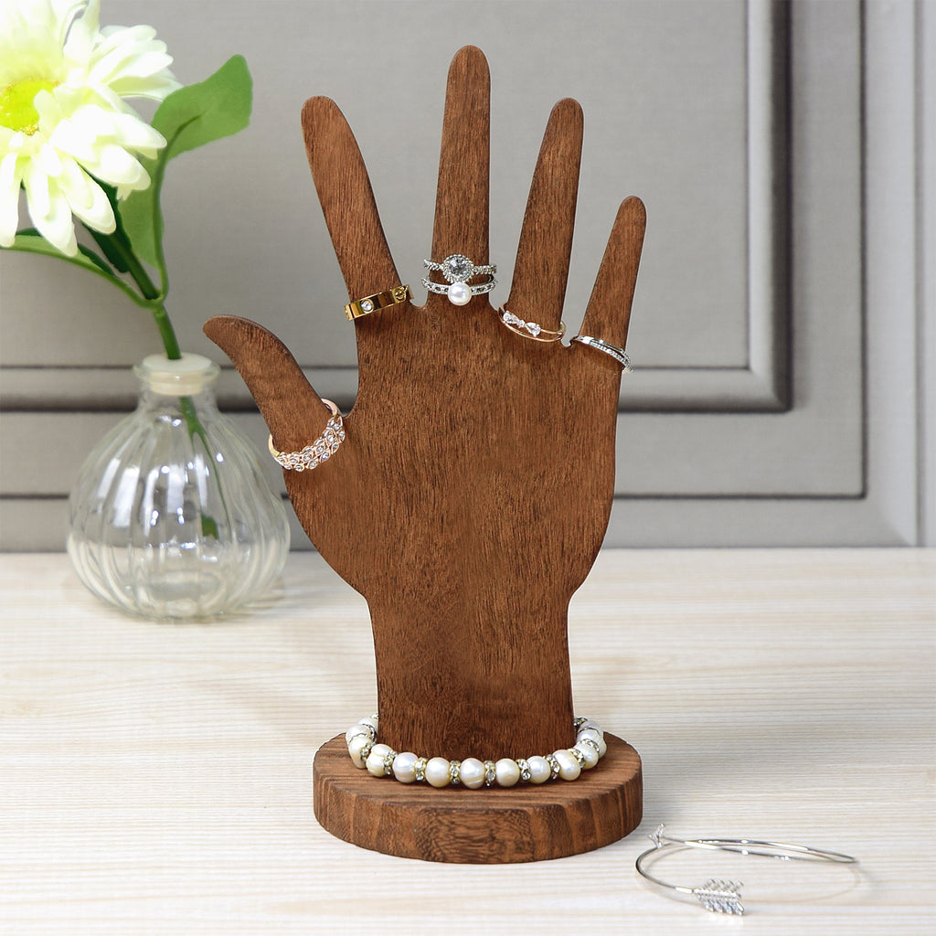 Ikee Design® 6 Pcs Set Wooden Hand Form Jewelry Display Bracelet Ring Stand Holder