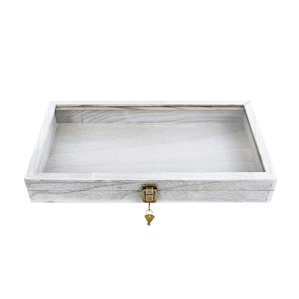 #WD83CL-G Natural Wood Glass Top Jewelry Display Case Accessories Storage Box with Metal Clasp
