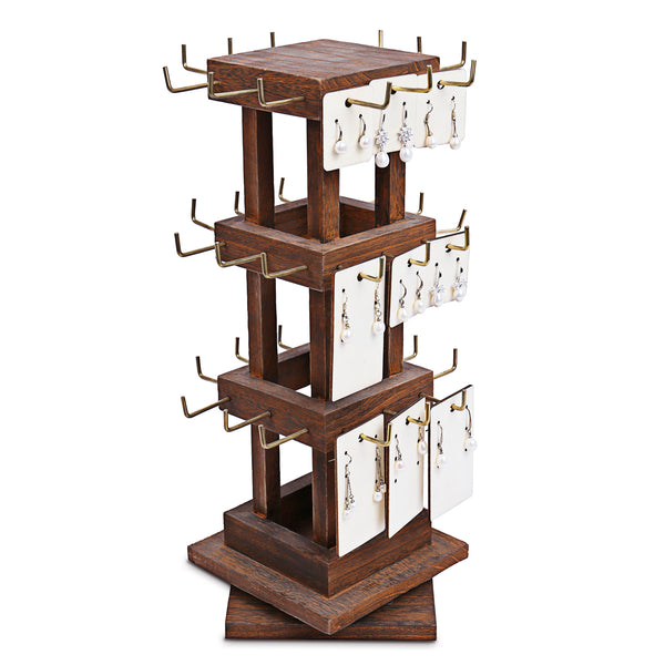 #WDJ5036 Natural Wood Rotating 36 Hooks Jewelry Tower, Spinning Earring Card Storage Display Holder Stand for Store, Showcase, Tradeshow and Home