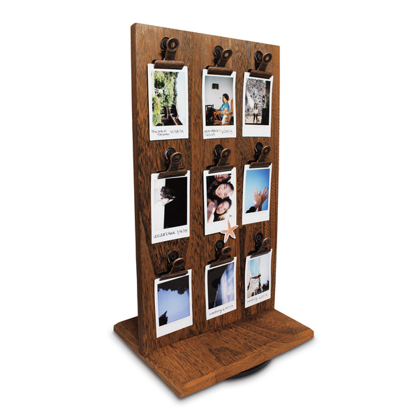 #WDJ5118BR Rotating Wooden Two-Sided Display Stand with Clips