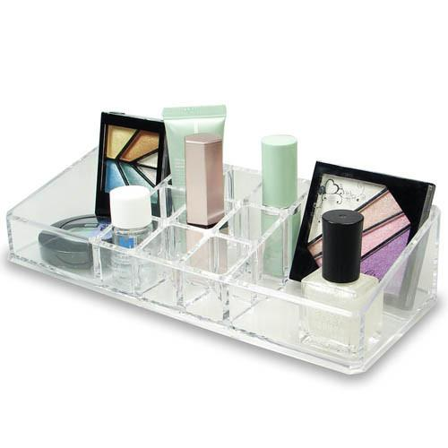 "Ikee Design®  Acrylic Cosmetic Organizer with 11 Compartments. 9"" W X 3 1/2"" L X 2"" H"