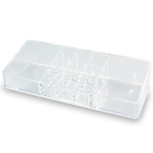 "Ikee Design®  Acrylic Cosmetic Organizer with 11 Compartments. 9"" W X 3 1/2"" L X 2"" H 