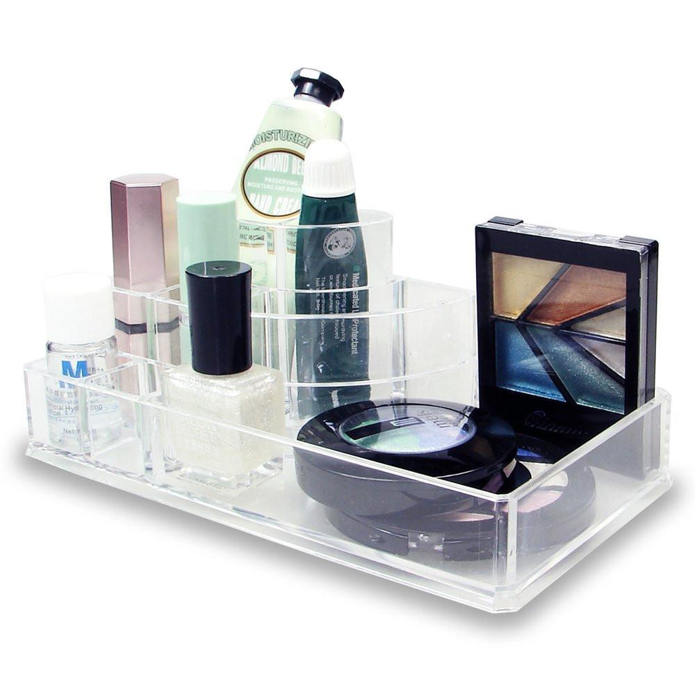 "Ikee Design® 3-step Acrylic Cosmetic Organizer with 8 Compartments. 8 1/2"" W x 5"" D x 3 1/8"" H"