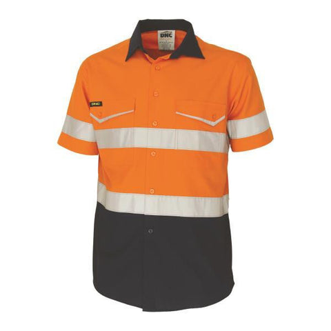 dnc-3587 two-tone ripstop cotton shirt with csr reflective tape. s/s