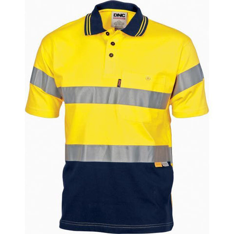 dnc-3915 hivis cool-breeze cotton jersey polo with 3m reflective tape, s/s