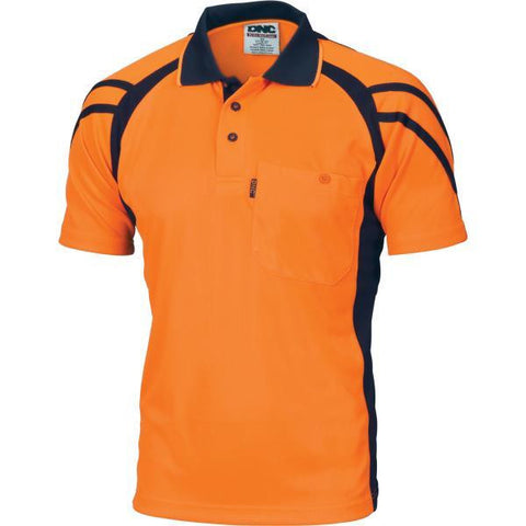 dnc-3979 hivis stripe panel cool breathe polo, s/s > 175 gsm polyester micromesh