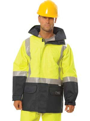 huski amp 918005 hi vis anti-static breathable long line jacket