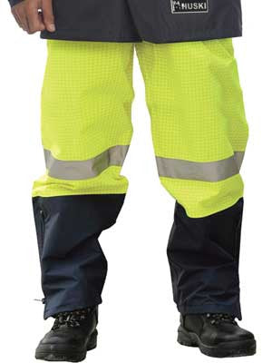 volt 918006 hi vis flame retardant, anti-static pull-on pant with over boot access